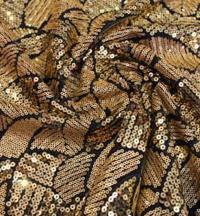 e192294e12b530 Сітка вишивка паєтками, геометричні візерунки, золото | Textile Plaza