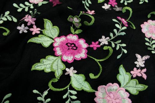 Сетка с вышивкой черная 480